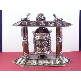 Moulin à prières bouddhiste de table métal patiné à l'ancienne MAPT1