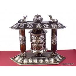 Moulin à prières bouddhiste de table métal patiné à l'ancienne MAPT2