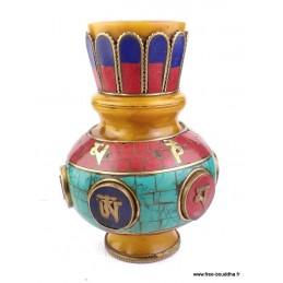 Vase tibétain ambre et pierres naturelles VAS1