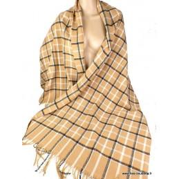 Chech châle pour homme en laine à carreaux beige noir HOM7