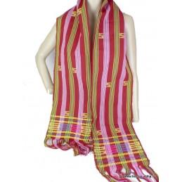 Echarpe du Bhoutan en coton rayé bordeau HOM10