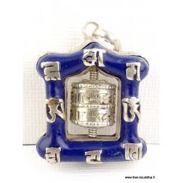 Pendentif tibétain Moulin à prières imitation Lapis lazuli Bijoux tibetains bouddhistes  FC8.1