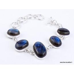 Bracelet argent Labradorite bleue cabochon Bijoux en Labradorite WL55