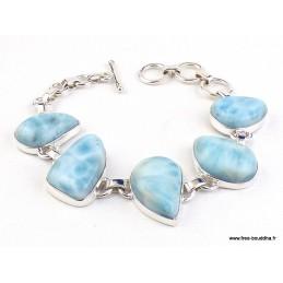 Bracelet argent authentique Larimar Bracelets pierres naturelles WL55.4