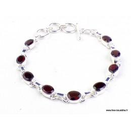 Bracelet en pierre Grenat facetté forme ovale Bracelets pierres naturelles WL55.20