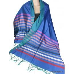 Châle pour femme bleu à rayures en soie APS159