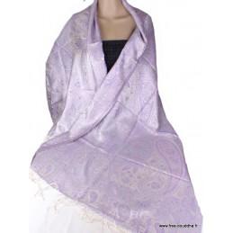 Châle pour femme en soie Parme Argent APS162