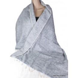 Châle ethnique laine de Yak Gris souris CPLY58