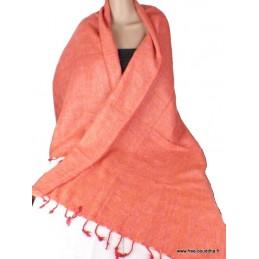 Châle ethnique laine de Yak Orange saumon CPLY59
