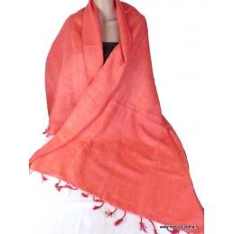 Châle népalais laine de Yak Orange rose CPLY63