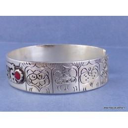 Bracelet tibétain Signes auspicieux corail Bijoux tibetains bouddhistes  brac tibet1