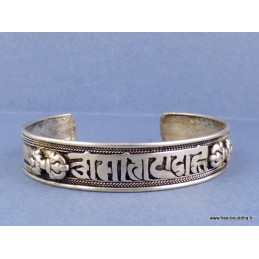 Bracelet tibétain métal blanc Mantra de Chenrezi Bijoux tibetains bouddhistes  BT9