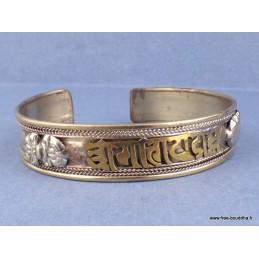 Bracelet Bouddhiste métal jaune Mantra Bijoux tibetains bouddhistes  BRACT2