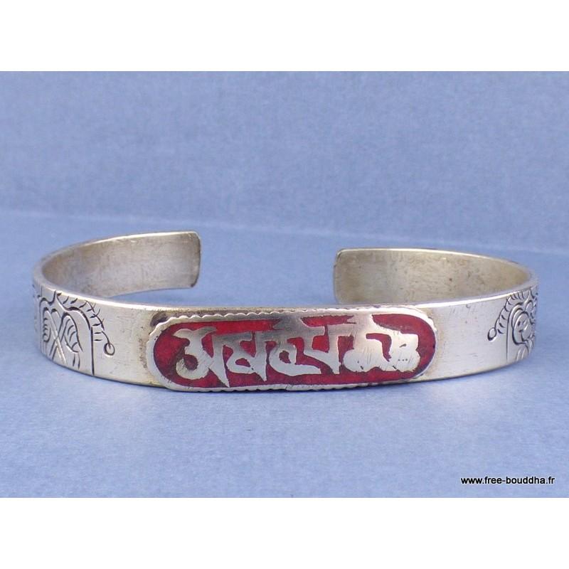 Bracelet bouddhiste tibétain mantra couleur corail Bijoux tibetains bouddhistes  ABT16.1