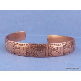 Bracelet tibétain en Cuivre orné du mantra de Chenrezi sanskrit Bijoux tibetains bouddhistes  AA56