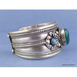 Bracelet tibétain Dorjé et onyx vert Bijoux tibetains bouddhistes  ref 7587.1