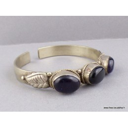Bracelet tibétain Onyx noir améthyste Bijoux tibetains bouddhistes  ref 6003.5