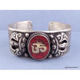 Bracelet tibétain bouddhiste OM corail Bijoux tibetains bouddhistes  ref 50B