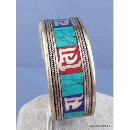 Bracelet bouddhiste Lapis lazuli et Turquoise Bijoux tibetains bouddhistes  ref 50E