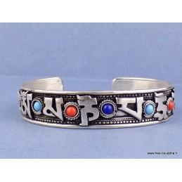 Bracelet tibétain MANTRA de Chenrezi et perles fantaisie Bijoux tibetains bouddhistes  AA62