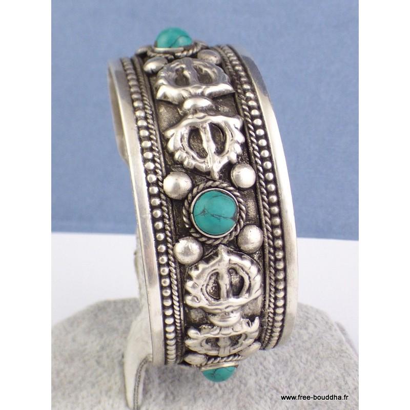Bracelet tibétain dorjé et turquoise Bijoux tibetains bouddhistes  ref 19.1