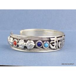 Bracelet tibétain en métal blanc Mantra Bijoux tibetains bouddhistes  ABT17.1