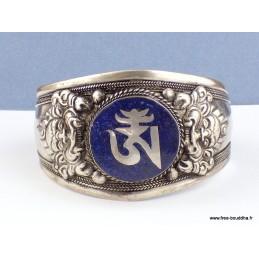 Bracelet tibétain bouddhiste imposant OM lapis lazuli Bijoux tibetains bouddhistes  BHB50