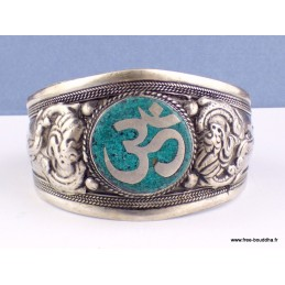 Bracelet tibétain imposant OM turquoise Bijoux tibetains bouddhistes  BHB50.1