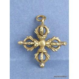 Pendentif tibétain double dorjé en métal Bijoux tibetains bouddhistes BHP10.1