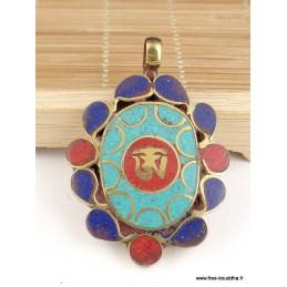 Pendentif bouddhiste OM TIBETAIN pierres fantaisie Bijoux tibetains bouddhistes  4002