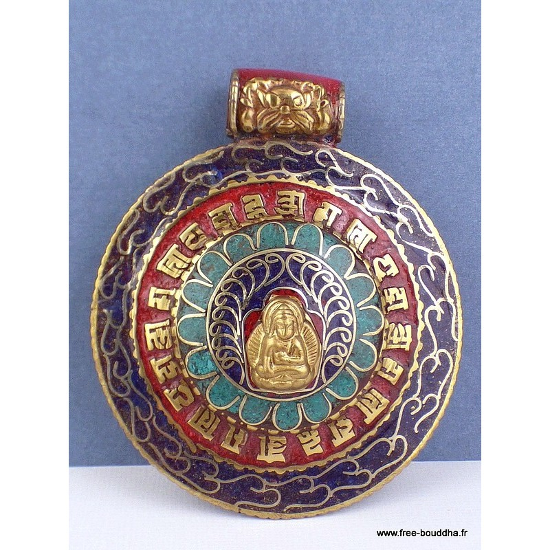 Gros Pendentif tibétain BOUDDHA Bijoux tibetains bouddhistes  ref 3682.1