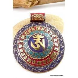 Gros Pendentif bouddhiste OM TIBETAIN Bijoux tibetains bouddhistes  ref 3682.5