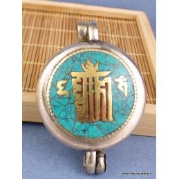 Pendentif bouddhiste Ghau Turquoise Bijoux tibetains bouddhistes  AA01.1