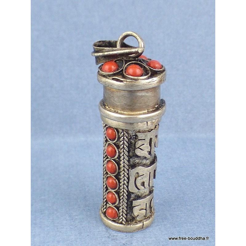 Pendentif forme tube MANTRA de CHENREZI Bijoux tibetains bouddhistes  TUB2