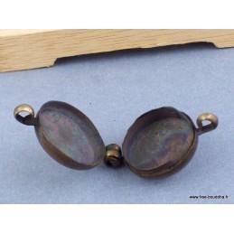 Pendentif Ghau double dorjé patiné bronze Bijoux tibetains bouddhistes  4094