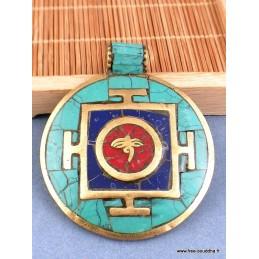 Pendentif tibétain Yeux de Bouddha Turquoise Lapis Lazuli Bijoux tibetains bouddhistes  BHP70.1