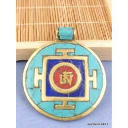 Pendentif bouddhiste Om tibétain laiton turquoise Bijoux tibetains bouddhistes  BHP70.3