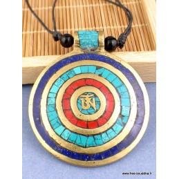Pendentif bouddhiste Om tibétain Spirale Bijoux tibetains bouddhistes  BHP70.4