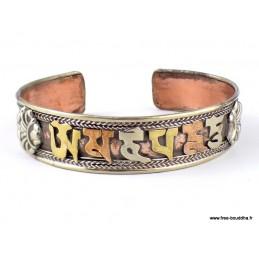 Bracelet tibétain deux tons Mantra de Chenrezi Bijoux tibetains bouddhistes  ref121