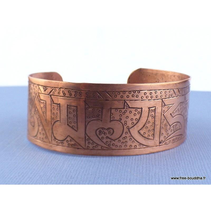 Large bracelet bouddhiste tibetain en CUIVRE Bijoux tibetains bouddhistes ref 16A