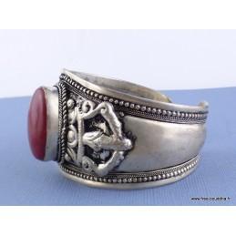 Gros bracelet tibétain Dorjé Jaspe rouge Bijoux tibetains bouddhistes  ref 02.5