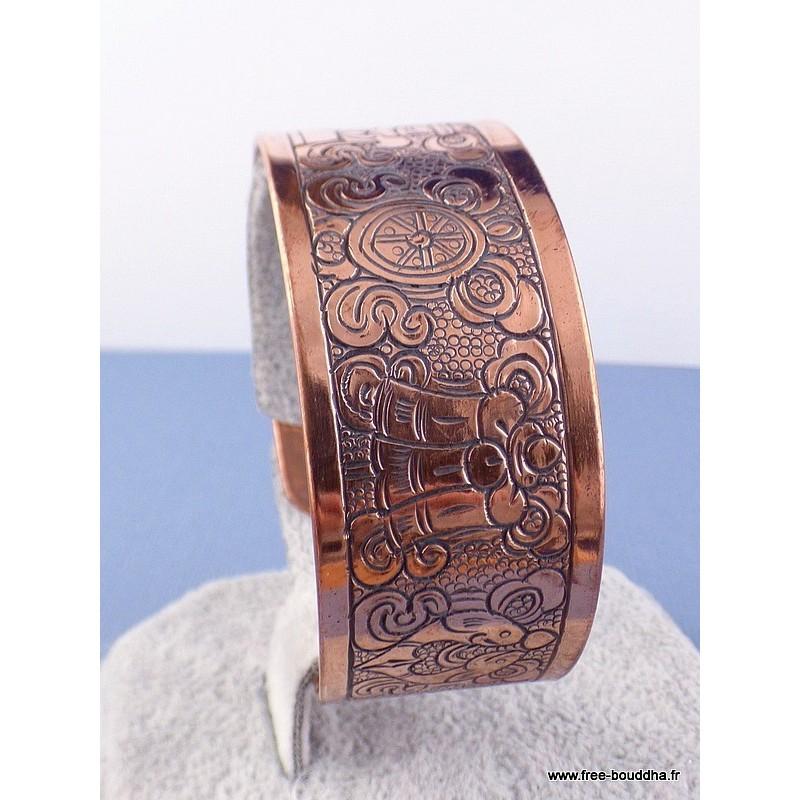 Large bracelet tibetain en CUIVRE 8 signes auspicieux Bijoux tibetains bouddhistes  ref 16B