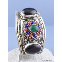 Bracelet tibétain Grenat Onyx vert Bijoux tibetains bouddhistes  ref 52C1