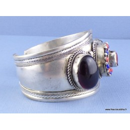 Gros bracelet tibétain Grenat Onyx noir Bijoux tibetains bouddhistes  ref 52E