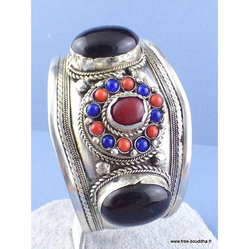 Gros bracelet tibétain Grenat Cornaline Bijoux tibetains bouddhistes  ref 52G