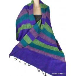 Châle laine de yack vert violet Nos Châles CPLY73