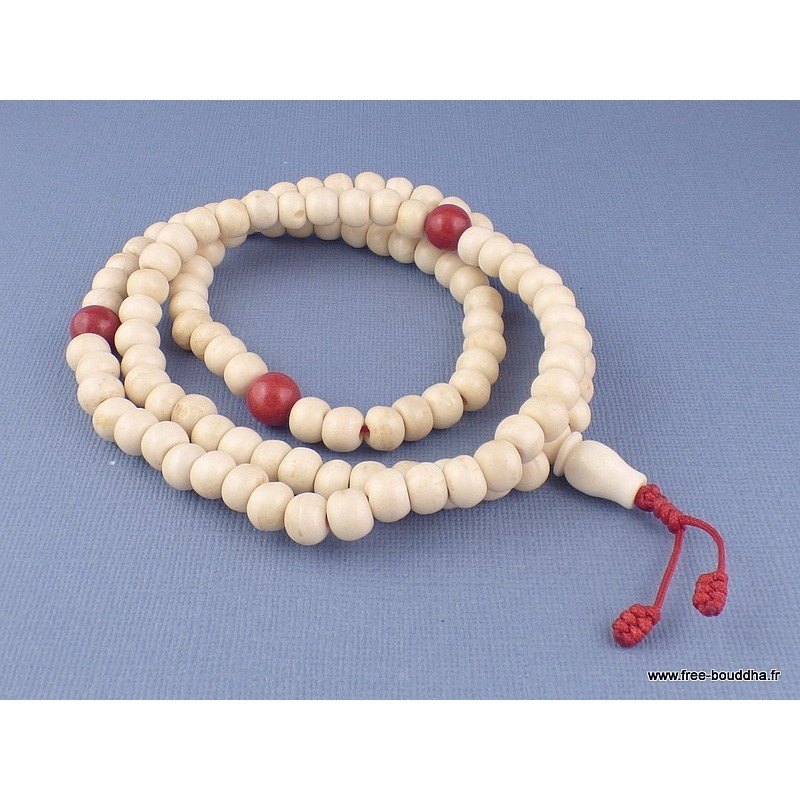 Mala tibétain de prières 108 perles os de buffle corail mala MT4