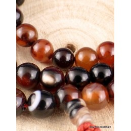 Mala bouddhiste 108 perles AGATES NATURELLES BM25