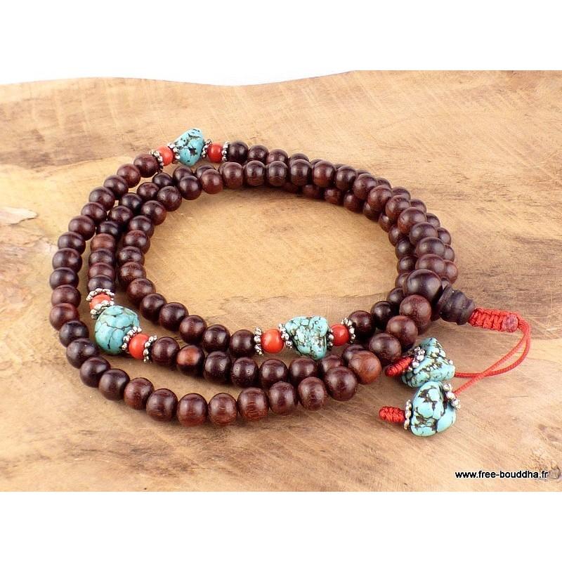 Mala tibétain 108 perles BOIS DE SANTAL ROUGE MALASR