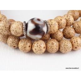 Mala 108 perles en Graines de Lotus et perle Dzi Objets rituels bouddhistes MALALOT1